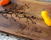 Cutting Board Love Birds Cutting Board - Laser Engraved Cutting Board - Tree Cutting Board - Personalized Cutting Board - Anniversary Gift