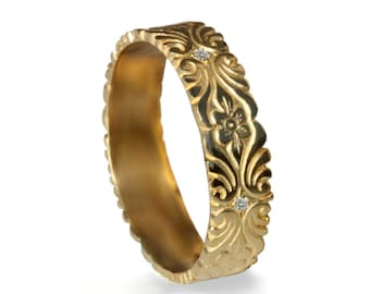 18k Gold Wedding Band , Art Deco Hand Engraved Floral pattern, scrolls band, womens diamond band, gold wedding ring, diamond wedding band
