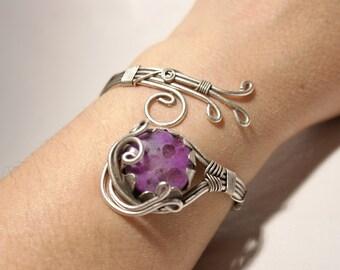 Adjustable silver cuff bracelet, jasper bracelet, womens bracelet, jasper cuff bracelet, stones bracelet, women bracelet, bracelet for women