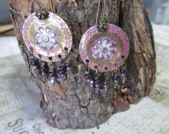 Bohemian, Chandeller Brass, Antique, Dangling Earrings