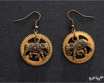 Steampunk India Elephant Earrings - gear, gold, brass, elephant pendant, bronze, handmade, metal