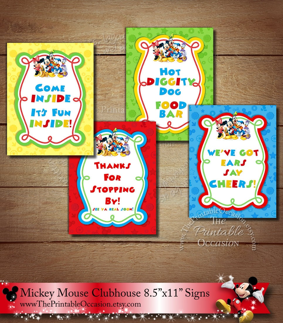 8.5x11 Mickey Mouse Clubhouse Signs Set of by ...