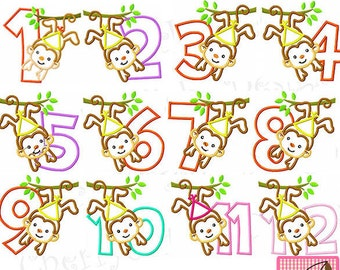 Monkey Numbers, Birthday Numbers Machine Embroidery Design Applique-4x4 5x7 6X10
