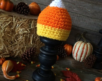 Crochet Fall/Halloween Chunky Candy Corn Hat - Multiple Sizes