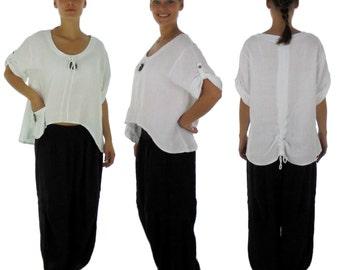 HI700W Damen Bluse Lagenlook Leinen Weiß one size