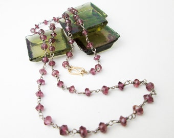 """Genuine Faceted Pink Ruby Bead Necklace, 14K Gold & Sterling Silver Strand, 19"""" Long, Hand Made Necklace, Tampico SF Studio."""