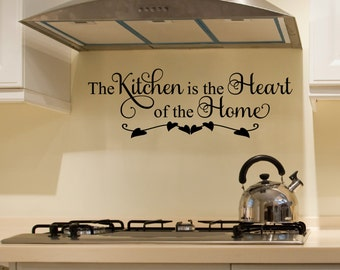 Kitchen Decals   The Kitchen Is The Heart Of The Home Wall Decal   Kitchen  Vinyl