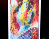 "Native American, Wisdom, ""Aho"" Postcard/Art Card, Bold, Colorful, Sacred Wisdom Keeper, Life, Kitty Oppegard Original Art Creations"