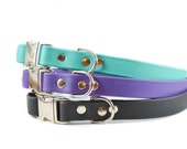 Vegan Leather Dog Collar - Adjustable Quick Release Metal Buckle and Nickel Plated Hardware - Turquoise Aqua Teal Purple Grape and Black