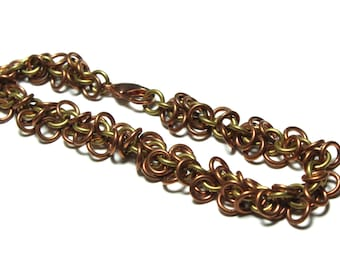 Copper and Brass Shaggy Loops Chainmaille Bracelet