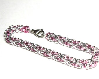 Byzantine Chainmaille Bracelet   Hand Crafted Chainmaille Jewelry   Handmade Bracelet   Pink and Silver   Anodized Aluminum