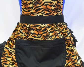 Retro Vintage 50s Style Full Apron / Pinny with Large Zipped Pocket - Gold & Black Tiger Stripes with Black Trim (A)
