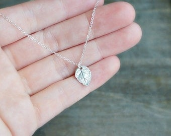 Silver Leaf Necklace / Small Realistic Silver Leaf Pendant on a Sterling Silver Chain • Simple Everyday Jewelry • Gift for Nature Girl