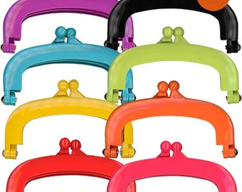 "Jelly Clip 4"" Purse Frame - Purple, Red, Green, Hot Pink, Yellow, Orange, Turquoise, Black by Lecien"