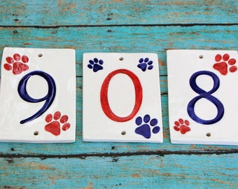 Handmade Ceramic Paw Print House Numbers, Paw House Numbers, Dog House Numbers, Cat Lover Numbers, Dog Numbers, Ceramic Numbers