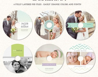 DVD CD Labels Templates for photographers - Set of 6 photoshop templates DL001