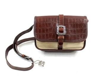 Brighton brown leather bag / 90s two tone shoulder bag
