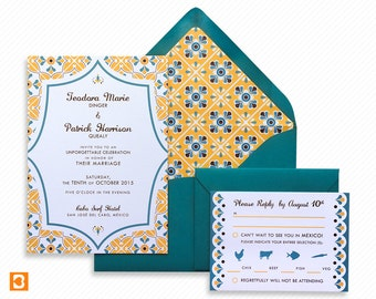Talavera Tile Mexico Destination Wedding Printable Invitation Suite with Print-at-Home Save the Date and Print-ready Information Card
