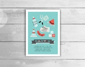 BBQ Baby Shower Invitation - co-ed / couples BabyQ invite in Blue & Red, customized printable pdf or jpeg, boy girl or unisex shower