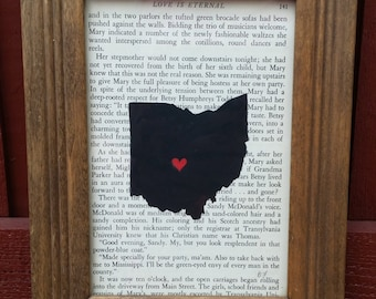 Ohio State Painting on Vintage Book Paper