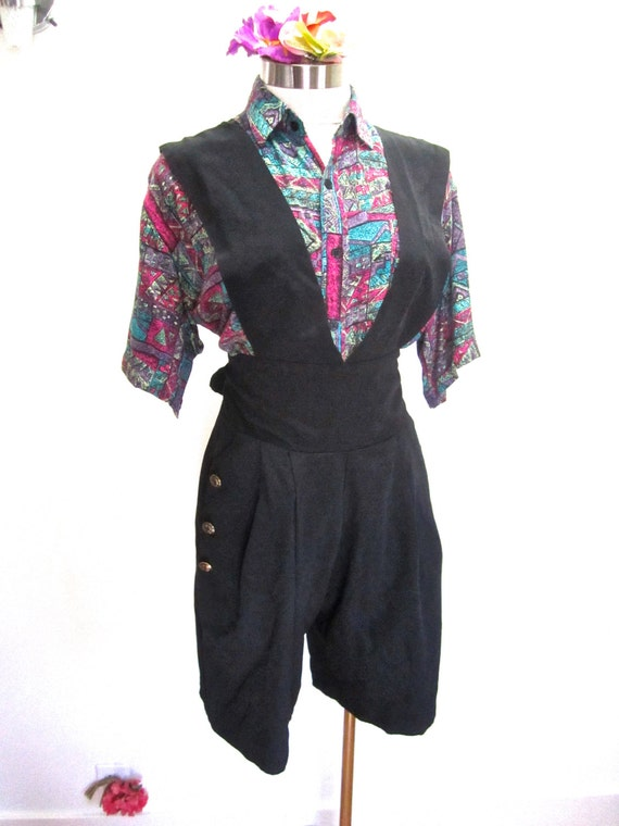S M 80s Shorts Baggy Suspender Pinafore Romper Black Rayon New
