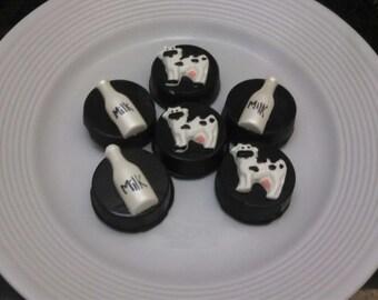 Cow and Milk Bottle White Chocolate Covered Oreos - 2 Dozen