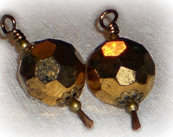 Bead Dangles, Bronze Bead Dangles, Bronze Crystal, Handmade Bead Dangle Charms, 12mm Round Crystal Bead Dangles, Handmade Paddle Head Pins