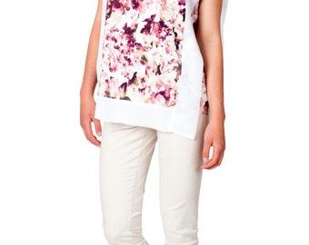 SALE  - Flower Print Shirt, Blouse, Top, Tunic, Floral Print, Hawaiian Print, Hibiscus, Silk Chiffon, White, Ivory, Loose Shirt