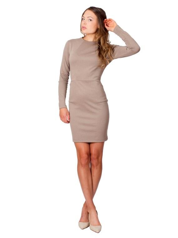 Mini Dress Taupe Light Brown Beige Tan Long Sleeves