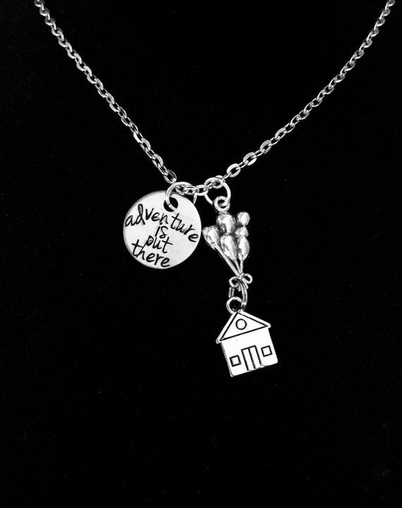 """Up Inspired """"adventure is out there"""" necklace"""