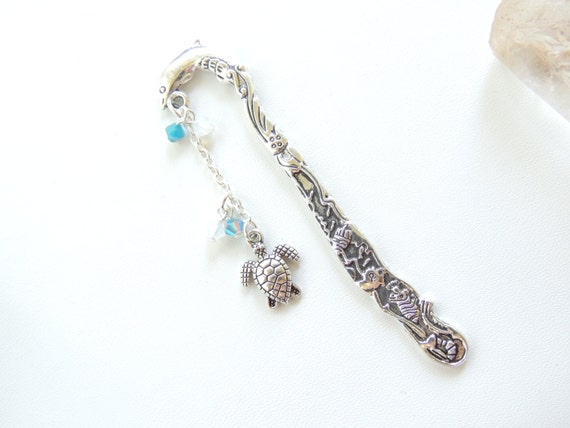 Dolphin Bookmark, Sea Turtle Bookmark, Nautical Sealife Bookmark, Beaded Metal Bookmark, Books and Zines, Starfish Bookmark. B260