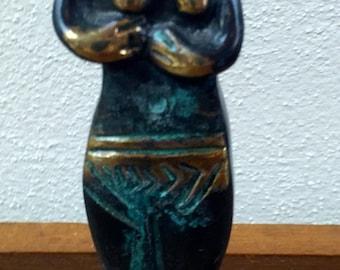 Mid Century Bronze Female Sculpture on Lucite Base