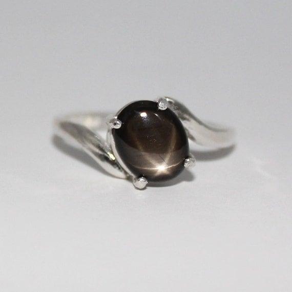 genuine black star sapphire ring sterling silver star. Black Bedroom Furniture Sets. Home Design Ideas