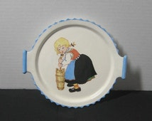 1954 Vintage Hand Painted Children's Ceramic Handpainted Plate with Handles Featuring Cute Dutch Girl Churning, ~~by Victorian Wardrobe