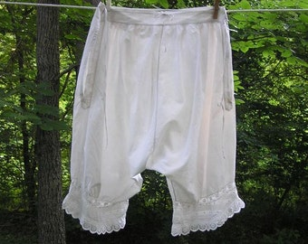 Victorian Era Vintage Lady's Pantalettes, White Cotton with Eyelet Trim, Button & Drawstring Waist, Circa 1890s-1910s, Vintage Lingerie