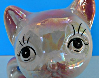 Lustreware Kitty Coin Bank, Valentines Day Gift, Pink Kitty Cat Bank, Shiny Cat Coin Holder, Lusterware Figurine, Feminine Feline, Big Eyes