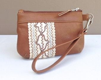Brooke Coin Purse:  Boho camel coloured cow hide leather with cotton lace appliqué detail