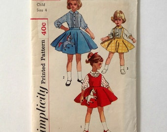 Vintage Simplicity 2287 Girls Blouse, Jumper and Skirt size 4 Uncut