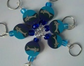 Polymer Stitch Marker - Swimin' Whales - Set of 6