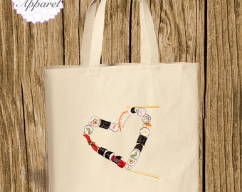 Sushi tote / Grocery Tote / Funny Tote Bag / Gift Tote / Canvas Tote / Custom Tote