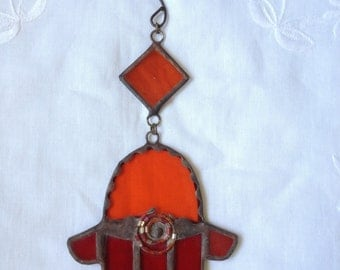 HANDMADE Mini HAMSA HAND  Orange and Red Color with Beads-Filigree. Ethnic Tiffany Stained Glass,Wall Hanging,Original Art Decor,Unique Gift