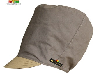 SOLID GROUND  -  Beige and taupe brim hat for dreadlocks, Cotton Rasta hat for Men and Women, Made to order