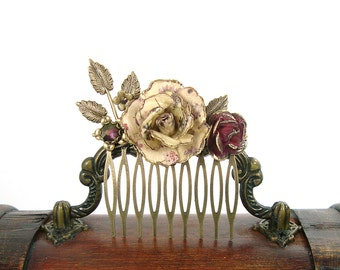 Vintage Style Floral Hair Comb - Antique Brass Bronze Flower Hair Accessories -  Plum Ivory Leaves Vintage Wedding Flower Hair Comb