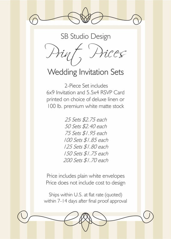 Printing prices 6x9 wedding invitation sets for Wedding invitation printing prices