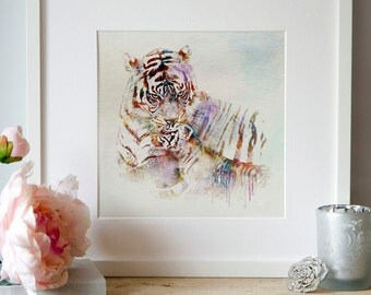 Wildlife Watercolor Felines Digital art Wall art Animal art Tenderness Big cats Tigers painting Watercolor tiger Tigress with cub Tigers art