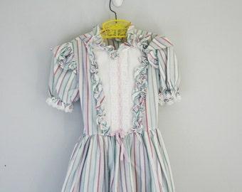 vintage 80s Little Girls Prairie Dress Candy Stripes Ruffle Frock Size 6 6X 7