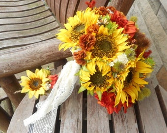 Sunflower Bridal Bouquet/ Fall Wedding / Country Wedding Bouquet / Rustic Wedding Bouquet / Silk Wedding Flowers / Country Bridal Bouquet /