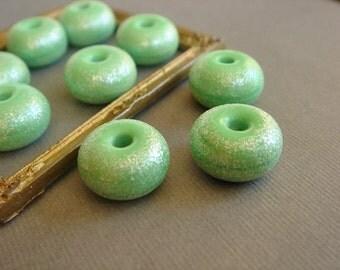 SRA Lampwork Beads, Apple Green Beads, Glass Beads, Destash Lampwork Beads, 9 pieces