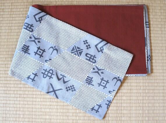 Japanese checkered obi belt, retro fukuro obi, vintage silk obi, reversible obi, antique obi, taisho roman