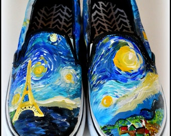 Womens Van Gogh Shoes, Custom Starry Night Shoes, Painted Eiffel Tower, Starry Night, Van Gogh Theme Shoes, Gifts for Women